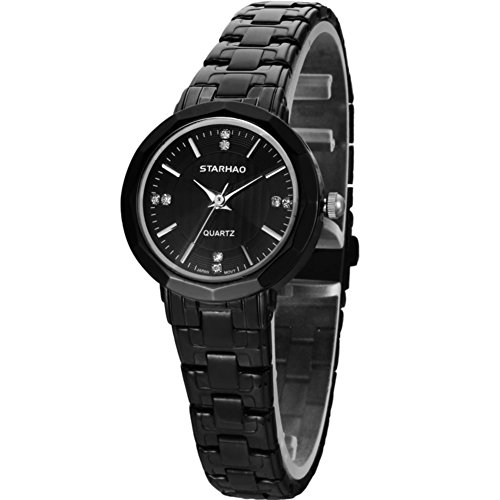 Stylish Woman Man Quartz Analog Wrist Watch Strip Dial Blue Band - 4