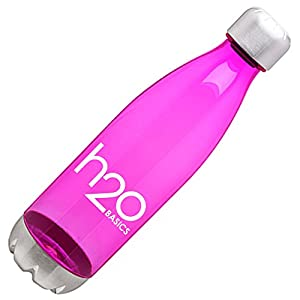BPA-Free Sport Water Bottles 25 oz, Tritan Non Toxic Plastic, Reusable Flask with Stainless Steel Leak Proof Twist Off Cap & Steel Base, Cola Bottle Shape (Fuchsia, 25 Ounces)