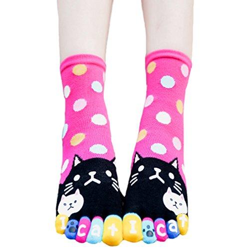 Women Toe Socks Funky Finger Socks Cute Cartoon Cotton Socks (Plump Kitty) -