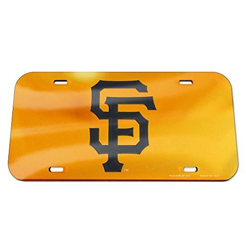 WinCraft MLB San Francisco Giants Crystal Mirror Logo License Plate, Team Color, One Size ()