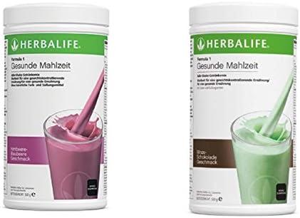 Herbalife Austria, 2 x Formula 1 Shake Frambuesa de arándanos + Chocolate de Menta, por 550 g: Amazon.es: Amazon.es