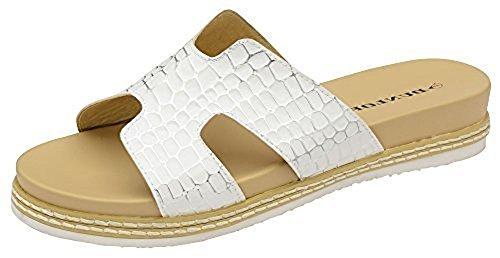Dunlop Mujer Memory Foam Casual Confort Sin Cordones Cocodrilo Zapatos Sandalia Blanco