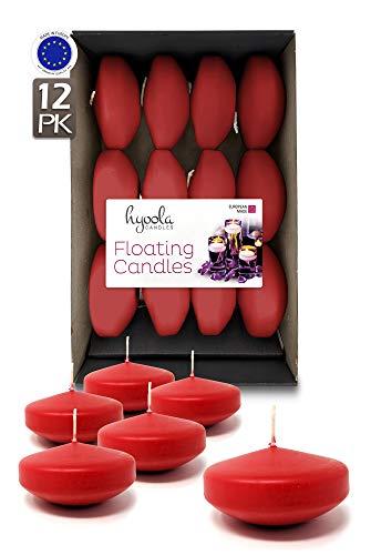 Hyoola Premium Velas flotantes Rojas 7,6 cm – 8 Horas – 12 Unidades – Fabricado en Europa