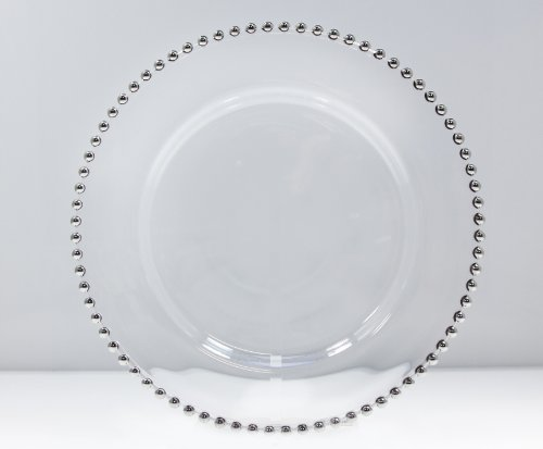 Silver Beaded Glass Charger Plate - Charger Glass Beaded