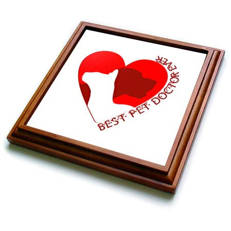 3dRose Alexis Design - Animals Red Heart Love - Red heart, silhouettes of a cat and a dog. Best pet doctor ever text - 8x8 Trivet with 6x6 ceramic tile (trv_313519_1)
