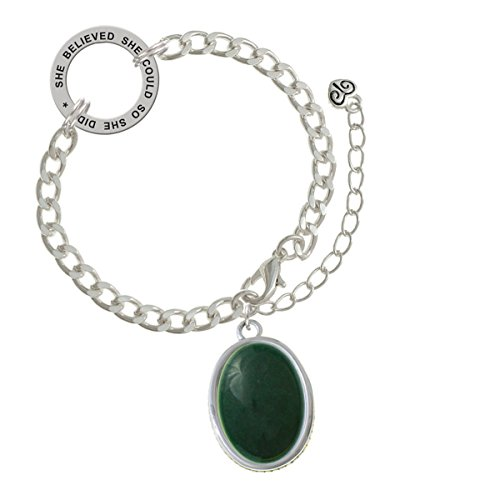 Two-tone Oval - Dolomite Marble - Green - She Believed She Could Link Charm Bracelet, 8.5