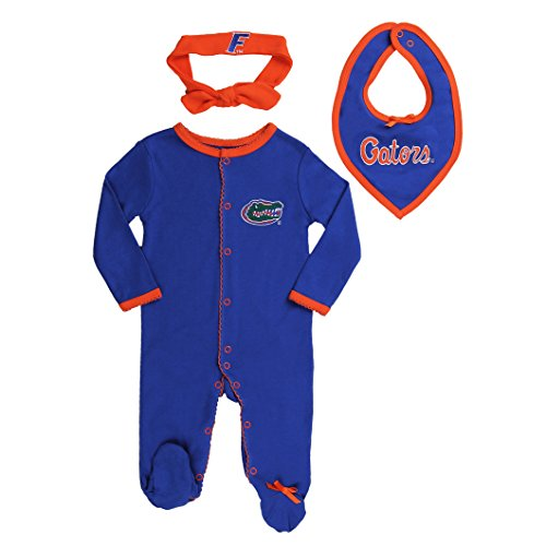 Florida Gators Baby Girls' 3 pack, Footie, Bandana Bib and Headband Set 0-3 months