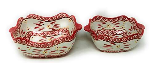 Temp-tations Set of 2 Bowls Scalloped Edge, Mix, Bake, Serve, 1.5 Qt & 1.0 Qt (Old World Red)