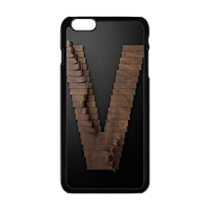 black 3D V-type brown DIY painting Hard Skin Case Cover for apple iphone6 plus + 5.5 inch