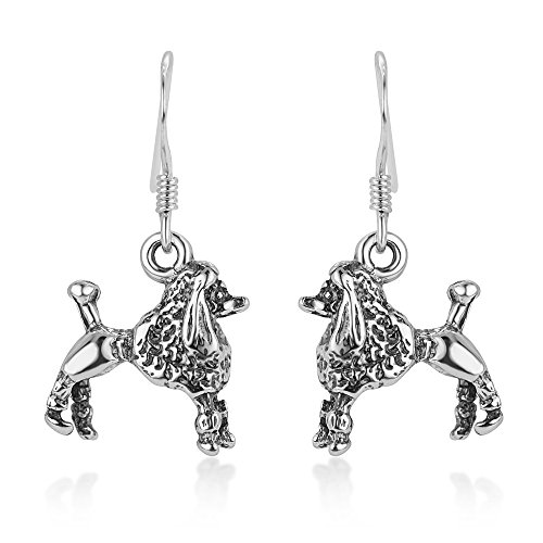 Poodle Jewelry (925 Oxidized Sterling Silver 3-D Poodle Dog Pet Lover Dangle Hook Earrings 1.1
