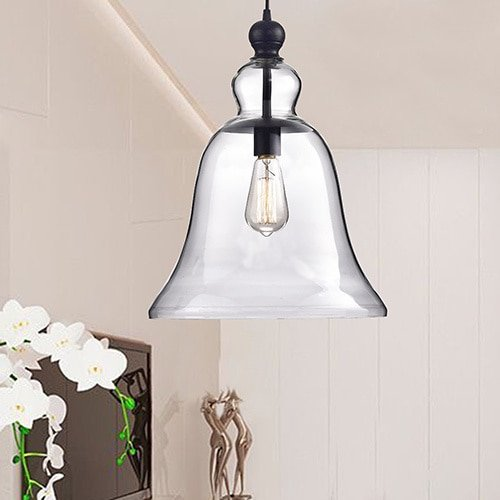 - Jojospring Yamila Antique Black Bell-Shaped Glass Pendant Light