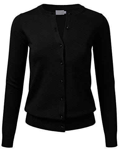 Crew Ribbed Sweater - FLORIA Women's Gem Button Crew Neck Long Sleeve Soft Knit Cardigan Sweater Black 2XL