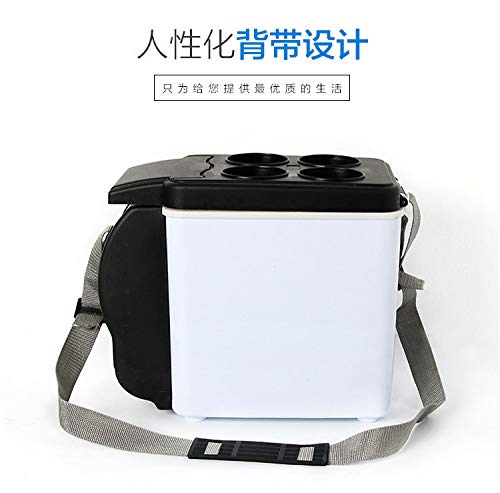 Beneficial 12V 6L Car Mini Fridge Portable Thermoelectric Electric Cooler and Warmer Travel Refrigerator - Ship from US (Black)