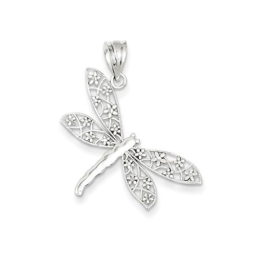 14k White Gold Diamond-cut Dragonfly Pendant