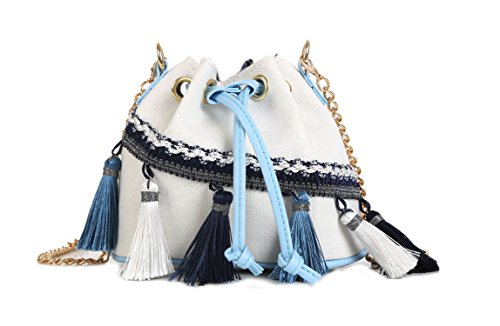 Canvas Shoulder Bag,CONISY Women Cute Small Crossbody Bags with Tassel Cell Phone Purse (White)