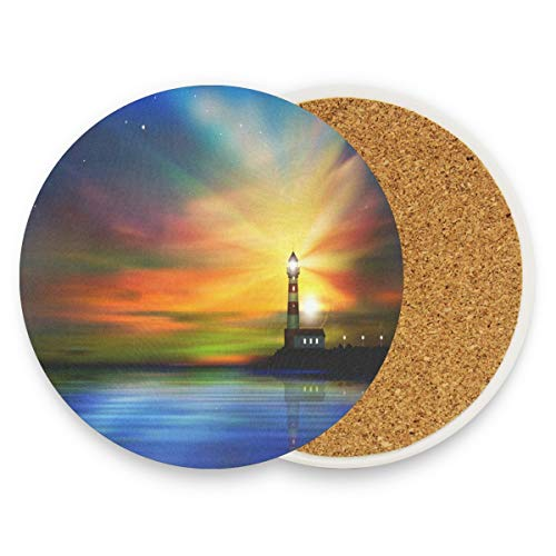 Lighthouse Coasters, Prevent Furniture From Dirty And Scratched, Round Drink Coasters Set Suitable For Kinds Of Mugs And Cups, Living Room Decorations Gift 1 Piece