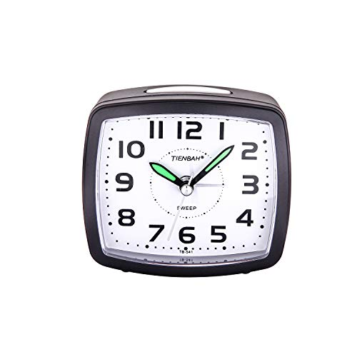 9a3de2b889 PROKING Silent Non Ticking Travel Analog Alarm Clock,Simple Battery  Operated Bedside Table Clock Snooze