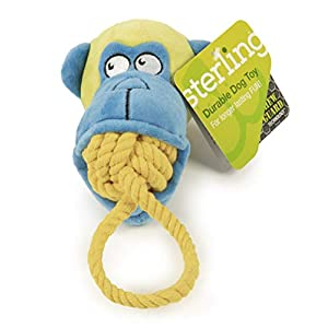 Sterling Rope Biters Monkey with Chew Guard Technology Durable Plush and Rope Tug and Toss Dog Toy Small, Blue Click on image for further info.