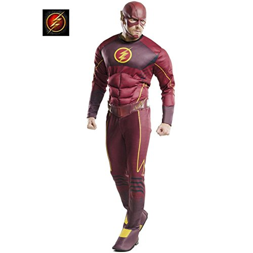 Muscle Chest Flash Adult Costumes (Rubie's Costume Co Men's Flash Deluxe Costume, Multi, X-Large)