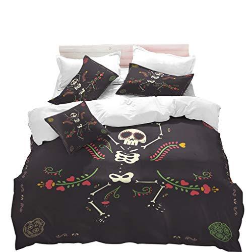 (VITALE Duvet Cover Set, Halloween Printed Quilt Cover Twin Size, Cartoon Dancing Skull Skeleton Printed 3 Pieces Twin Size Bedding Set Kids Bedding Halloween)