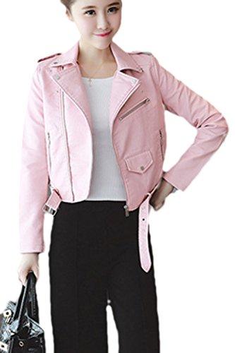 Zilcremo Les Femmes du Cuir Ferme - Un Mode Outcoat Collier Veste Courte. Pink