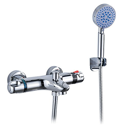 Hotbestus Thermostatic Wall Mount Bathtub Faucet with Five Function Handheld Shower Head Extra Long Hose Thermostatic Faucet System, Chrome Finish (style (Wall Mount Thermostatic Handheld)