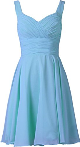 (ANTS Women's V-neck Chiffon Bridesmaid Dresses Short Prom Gown Size 6 US Pale Blue)