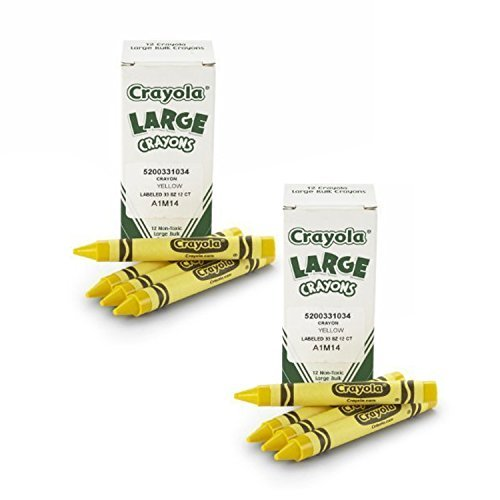 Crayola Bulk Crayons Large Size, Yellow (2-Pack of 12)