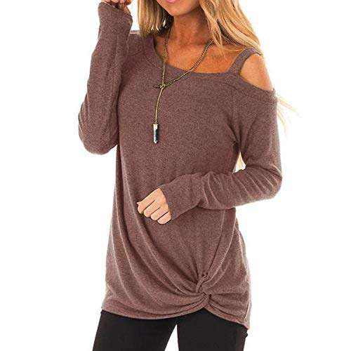 ANJUNIE Womens Casual Long Sleeves Top Soft O Neck Knot Side Twist T-Shirt Loose Blouse (Brown,S) ()