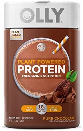 OLLY Plant Powered Protein, Protein Powder, 14.8 oz (12 Servings), Pure Chocolate, 18g Plant Protein, Vegan