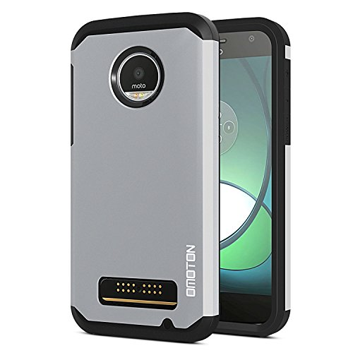 OMOTON Moto Z Play Case - Dual-Layer [Soft TPU Interior] [Durable PC Exterior] Shock Case For Motorola Moto Z Play Droid, Silver