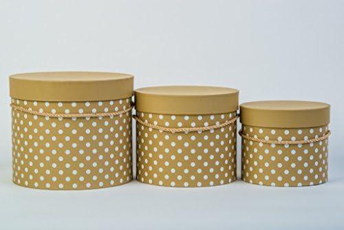 Juego de 3 cajas con decoración de puntos, caja de regalo con cordón dorado, con tapa,