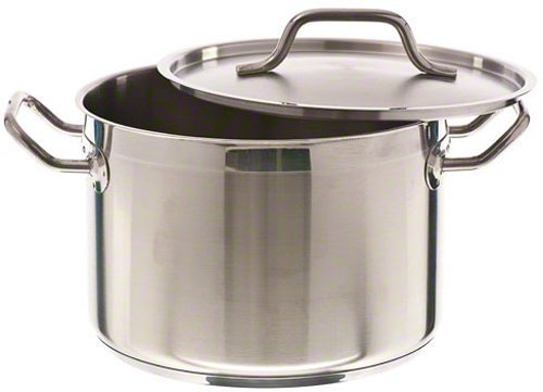 Update International SPS-8 SuperSteel 18/8 Stainless Steel Induction Ready Stock Pot with Cover, 8-Quart, Natural by Update International