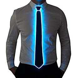 Black Micro Soild -blue Light LED Tie