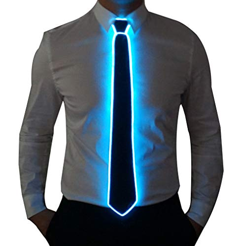 Light Up Neck Tie Led Tie for men Novelty Necktie for Rave Party Burning Man Festivals (1, Black Micro Soild Tie-Blue light)
