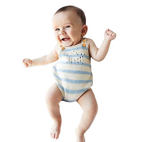 Simplee Kids Baby Sweater Romper Unisex 100% Cotton Sleeveless Beige Blue Stripe Onesies 12M