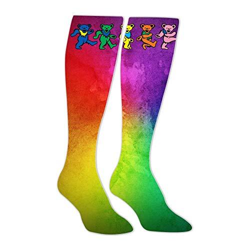 (Grateful-Bear Dead Band Unisex Adult High Knee Stockings Soft Men's Women's Long Sock Christmas Halloween)