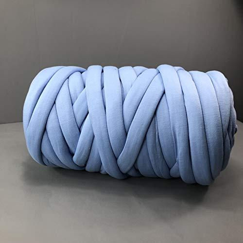 EASTSURE Chunky Braid Cotton Yarn Supre Large for Arm Knitting DIY Handmade Blankets Machine Washable,Denim Blue,0.55LB