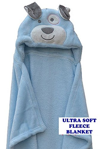 Blankets Dog Infant (Blue Dog Hooded Ultra Soft Baby Swaddling Wrapping Blanket for New Born, Infant Or Tiny Tots Comfy and Cozy Size 30 inches by 36 inches. Luxury Polyester Fleece Blanket for Kids)
