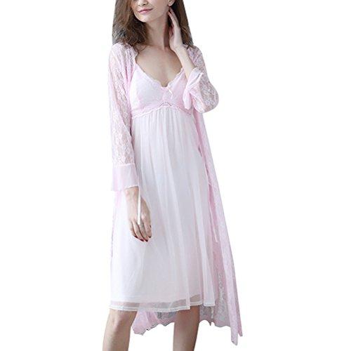 Zhuhaitf Alta calidad Womens Breathable Soft Princess Sleep skirt Pyjama Nightwear Two pieces Set Pink