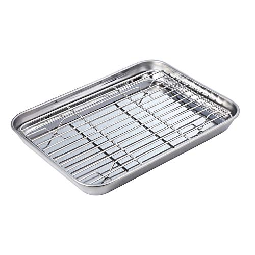Stainless Baking Sheet with Rack Set Tray Cookie Sheet & Toaster Oven Pan ( Size 10 3/8