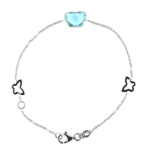 18Kt White Gold blue topaz and open Butterflies Bracelet by Amalia