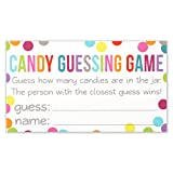 candy jars for baby shower - Candy Guessing Game Cards - Guess How Many in the Jar - Confetti Polka Dot Card 3.5 X 2 Inches - Pack of 50