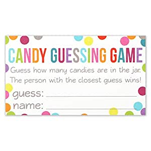 Candy Guessing Game Cards - Guess How Many in the Jar - Confetti Polka Dot Card 3.5 X 2 Inches - Pack of 50