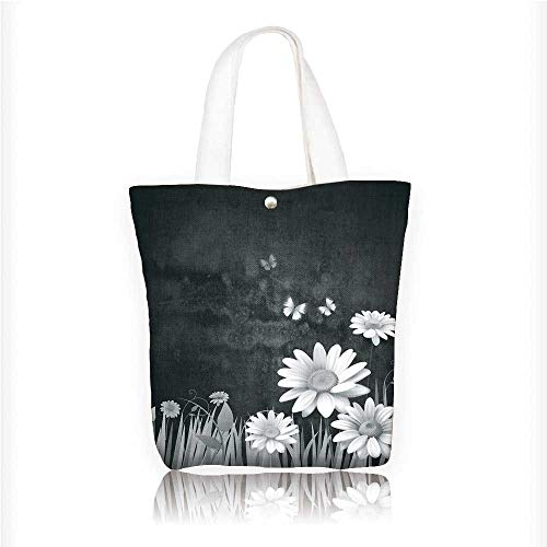 American Cherry Plank - Canvas Tote Bag Antique Old Planks American Style Western Rustic Wooden and white daisies, grass and butterflies Hanbag Women Shoulder Bag Fashion Tote Bag W11xH11xD3 INCH