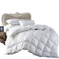Ropa de cama egipcia All-Season King Size Luxury Siberian Goose Down Edredón Duvet Insert 750FP 1200 100% algodón egipcio (King, blanco sólido)