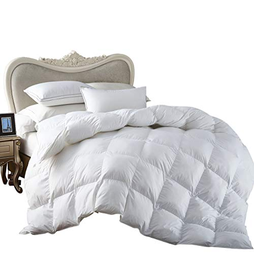 Egyptian Bedding All-Season King Size Luxury Siberian Goose Down Comforter Duvet Insert 750FP 1200 Thread Count 100% Egyptian Cotton (King, White Solid)