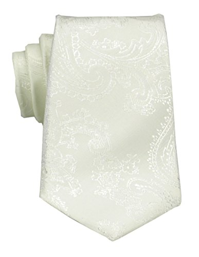 Mens Charm Silk Skinny Paisley Jacquard Tie - Various Color (Ivory)