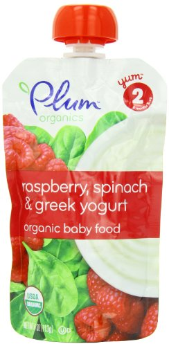 - Plum Organics Second Blends, Raspberry, Spinach and Greek Yogurt, 4-Ounce (Pack of 6)