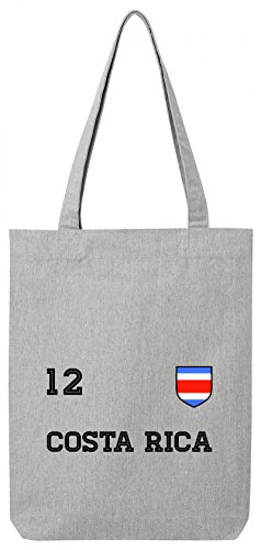 Fußball WM Fanfest Gruppen Premium Bio Baumwoll Tote Bag Jutebeutel Stanley Stella Trikot Costa Rica Heather Grey